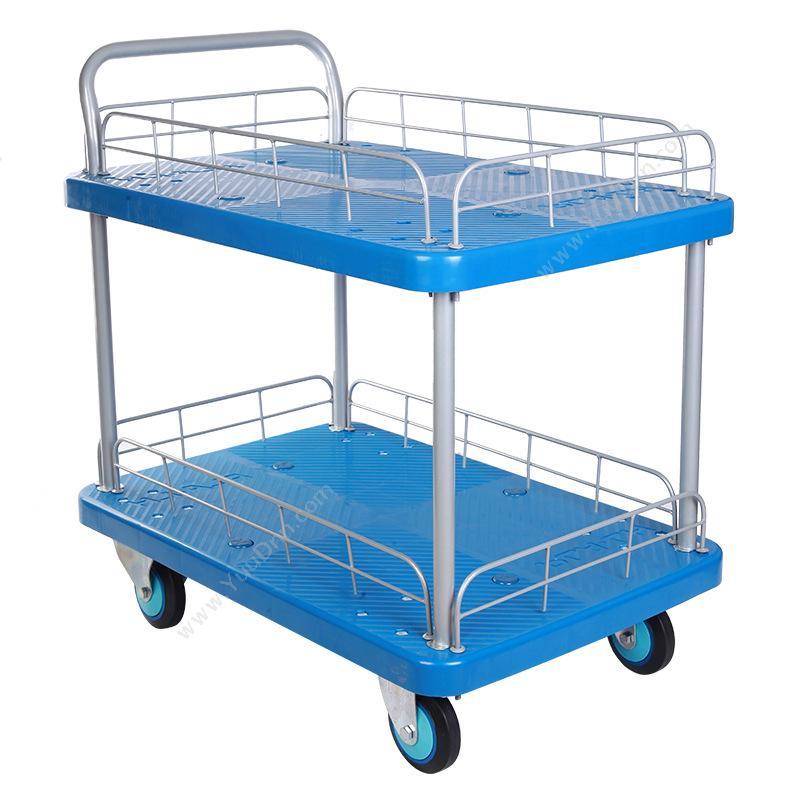 连和 LianHePLA200Y-T2-HL2 双层护栏式单扶手中静手推车 200KG 天蓝色平板推车