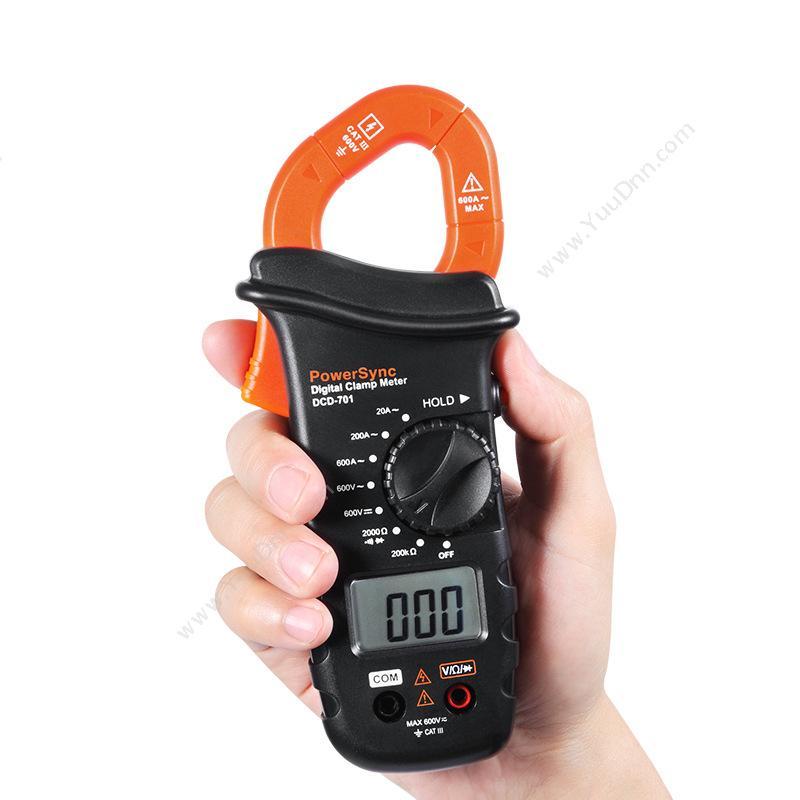 包尔星克  Powersync包尔星克 DCD-701 数字钳形电流万用表 1个 黑橙色  8档功能旋钮开关高压钳形表